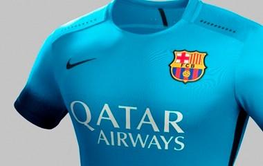 FC Barcelona 2015 2016 Nike Blue Third Football Kit, Soccer Jersey, Shirt, Playera, Maillot, Camiseta, Equipacion de Futbol, Trikot