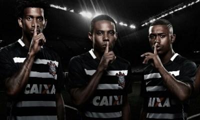 Corinthians 2015 2016 Nike Black Away Football Kit, Soccer Jersey, Shirt, Camisa, Camiseta