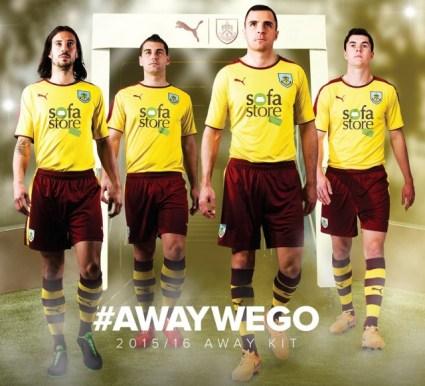 Burnley Football Club 2015 2016 PUMA Yellow Away Kit, Shirt, Soccer Jersey