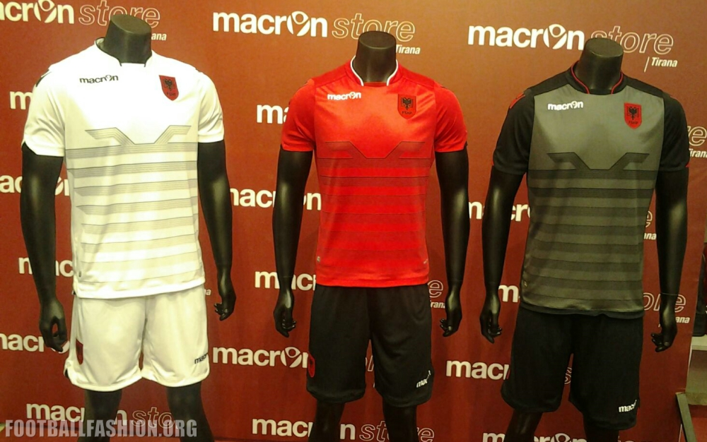 Albania EURO 2016 Macron Home and Away Kits Launched – FOOTBALL ... 1a1f57349