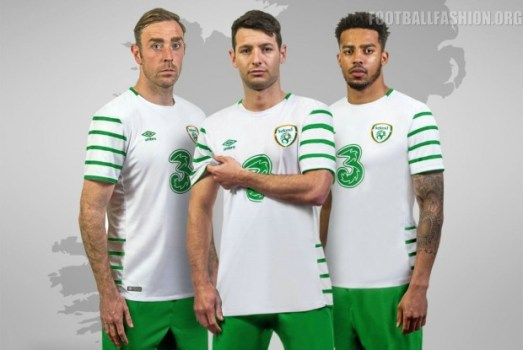 Republic of Ireland White EURO 2016 Umbro Away Football Kit, Soccer Jersey, Shirt