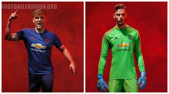 Manchester United FC Blue 2016 2017 adidas Away Football Kit, Soccer Jersey, Shirt, Maillot, Camiseta, Gara, Equipacion, Trikot, Tenue