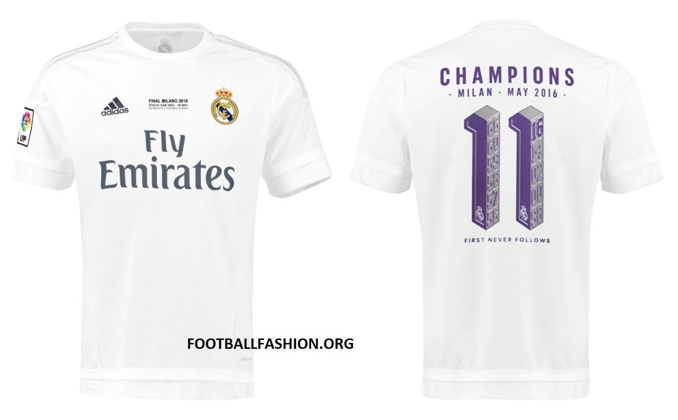 Real Madrid 2016 UEFA Champions League adidas Winners Shirts 6452b11ffcb0c