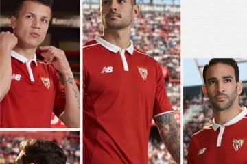 Sevilla FC 2016 2017 New Balance Red Away Football Kit, Soccer Jersey, Shirt, Camiseta de Futbol Roja, Equipacion
