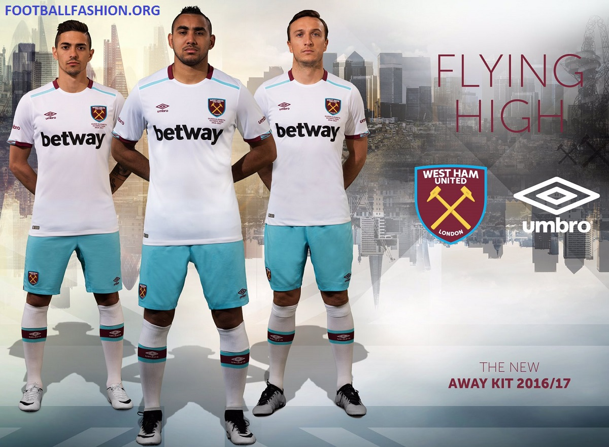 online store 83449 03f80 West Ham United 2016/17 Umbro Away Kit - FOOTBALL FASHION.ORG