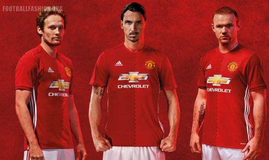 Manchester United FC Red 2016 2017 adidas Home Football Kit, Soccer Jersey, Shirt, Maillot, Camiseta, Gara, Equipacion, Trikot, Tenue