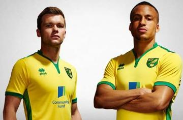 Norwich City Football Club 2016/17 Errea Home Kit, Soccer Jersey, Shirt