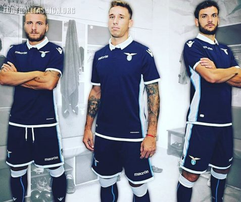 S Lazio 2016 2017 Macron Blue Away Football Kit, Soccer Jersey, Shirt, Gara, Maglia, Camiseta, Camisa