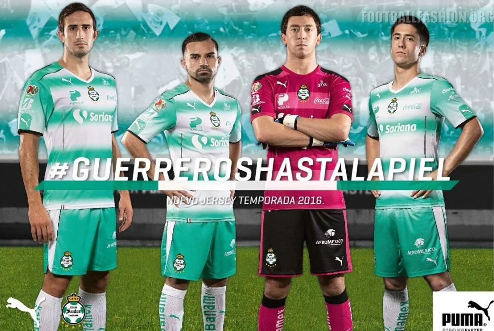 ea63a1d66c3 ... Club Santos Laguna are back in PUMA kits for their 2016/17 campaign. Santos  Laguna 2016 2017 PUMA Home and Away Soccer Jersey, Football Kit, Shirt,