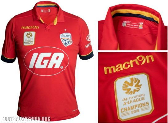 Adelaide United FC 2016 2017 Macron Home and Away Football Kit, Soccer Jersey, Shirt