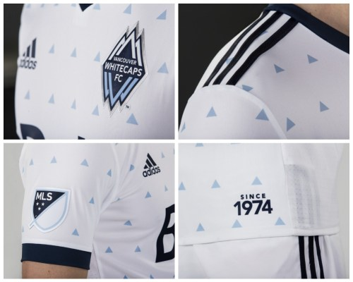 "Vancouver Whitecaps 2017 adidas Home ""Rain"" Soccer Jersey, Football Kit, Shirt"