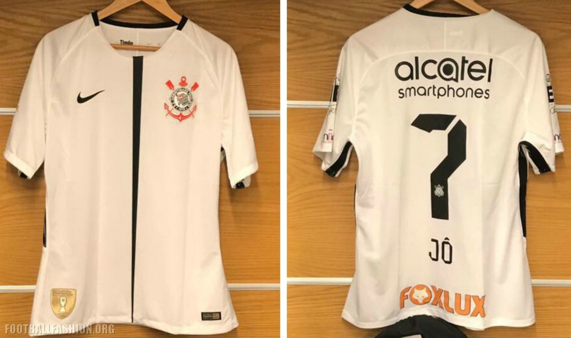073575ec2 The font used for the player name lettering and numbers on the back of the  Corinthians 2017 18 Nike home and away kits are based on that used for the  team s ...