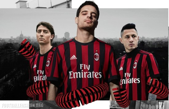 AC Milan 2017 2018 adidas Red Black Home Soccer Jersey, Shirt, Football Kit, Gara, Maglia, Camisa, Camiseta, Maillot, Trikot