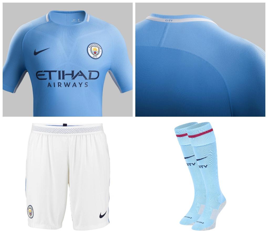 7732c793f Manchester City FC 2017 18 Nike Home Kit - FOOTBALL FASHION.ORG
