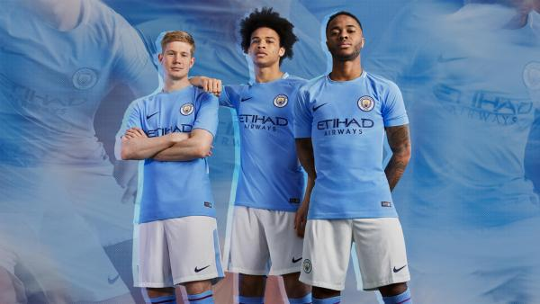 Manchester City FC 2017 2018 Blue Nike Home Football Kit, Shirt, Soccer Jersey, Maillot, Camiseta, Camisa, Trikot, Tenue