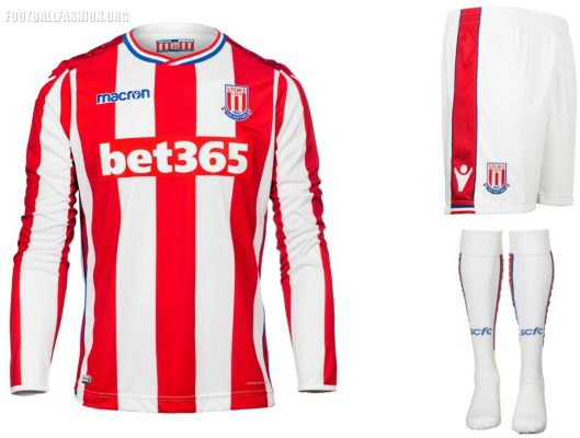 Stoke City FC 2017 2018 Macron Home and Away Football Kit, Soccer Jersey, Shirt