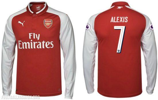 Arsenal FC 2017 2018 PUMA Home Football Kit, Soccer Jersey, Shirt, Maillot, Camiseta, Camisa, Trikot, Tenue, Equipacion
