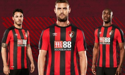 AFC Bournemouth 2017 2018 Umbro Home Football Kit, Soccer Jersey, Shirt, Camiseta, Maillot
