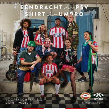 PSV Eindhoven 2017 2018 Umbro Home Football Kit, Soccer Jersey, Shirt, Thusshirt, Tenue