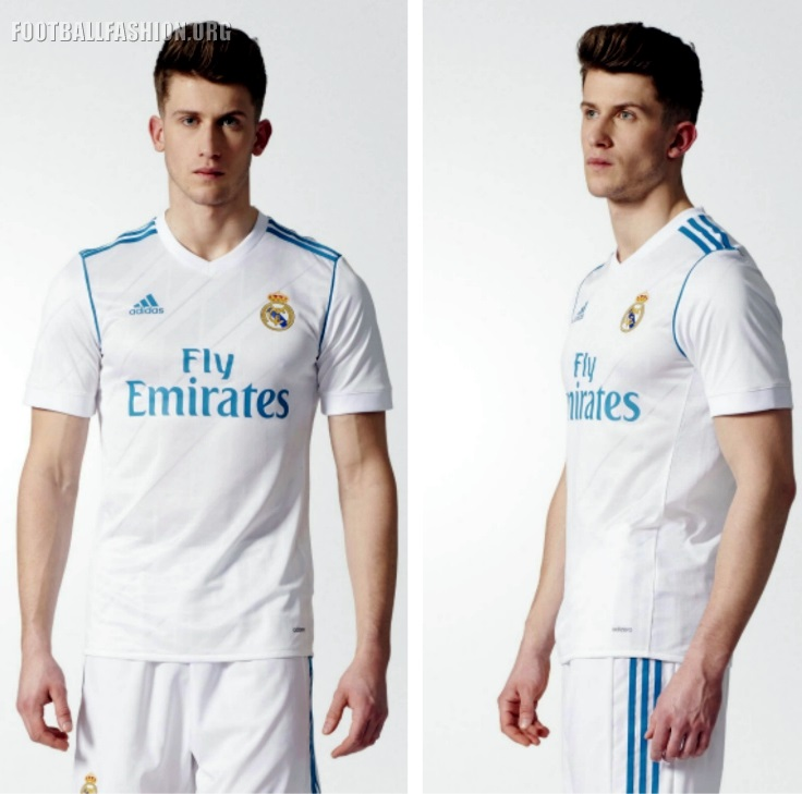 c1b41dceb The classic white of Real Madrid is more prominent than ever before thanks  to a new stripe design that cuts off at the shoulders.