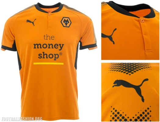 Wolverhampton Wanderers FC 2017 2018 PUMA Home Football Kit, Soccer Jersey, Shirt, Wolves