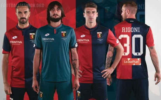 Genoa CFC 2017 2018 Lotto Home Football Kit, Soccer Jersey, Shirt. Gara. Maglia