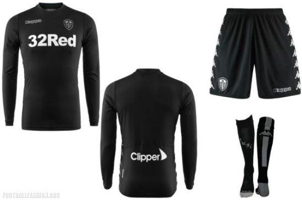 Leeds United 2017 2018 Kappa Black Away Football Kit, Soccer Jersey, Shirt