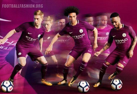 Manchester City FC 2017 2018 Maroon Nike Away Football Kit, Shirt, Soccer Jersey, Maillot, Camiseta, Camisa, Trikot, Tenue