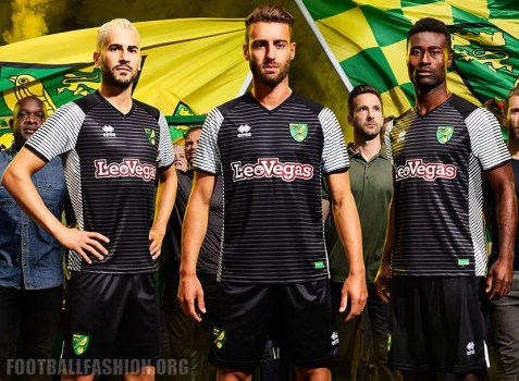 Norwich City 2017 2018 Errea Home and Away Football Kit, Soccer Jersey, Shirt