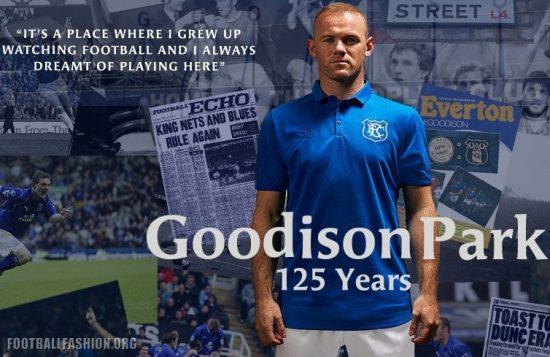 Everton FC Goodison Park 125th Anniversary 2017 2018 Umbro Home Football Kit, Soccer Jersey, Shirt