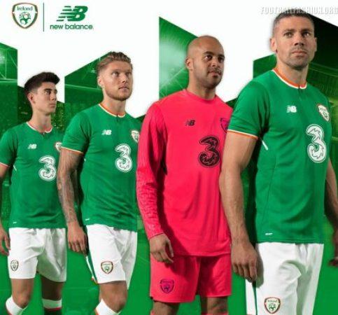 Republic of Ireland 2017 2018 New Balance Green Home Football Kit, Soccer Jersey, Shirt, Uniform