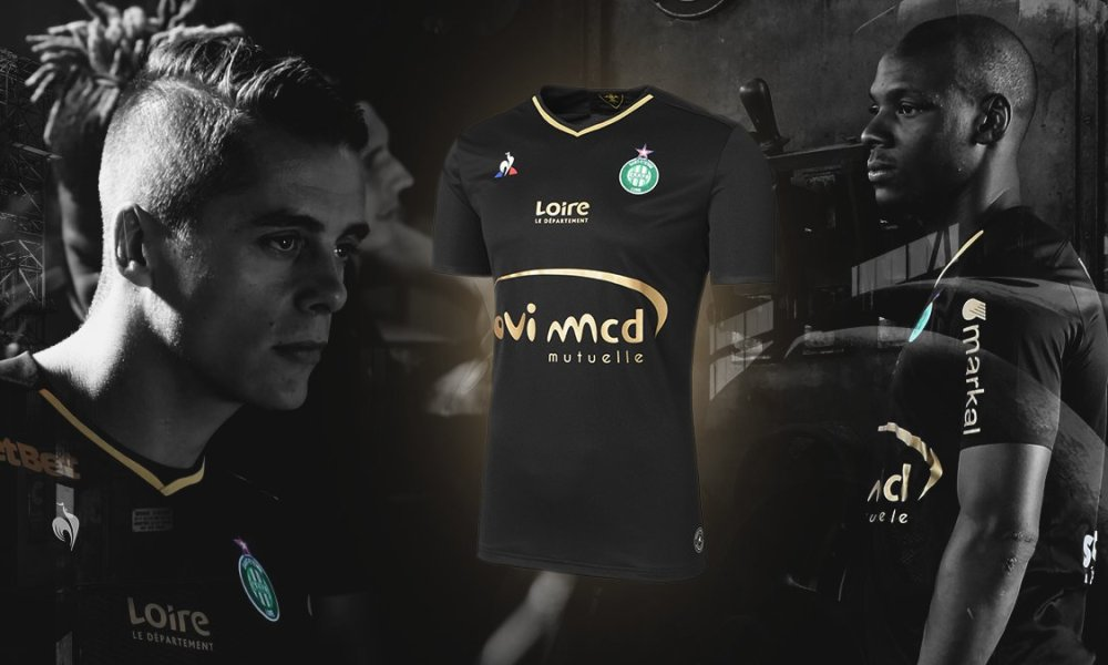 AS Saint-Étienne 2017 2018 le coq sportif Black Third Football Kit, Soccer Jersey, Shirt, Maillot