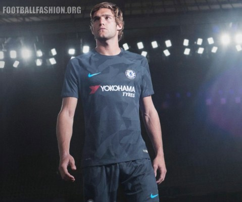 Chelsea FC 2017 2018 Nike Black Third Football Kit, Soccer Jersey, Shirt, Camiseta de Futbol, Camisa, Maillot, Trikot, Tenue, Dres