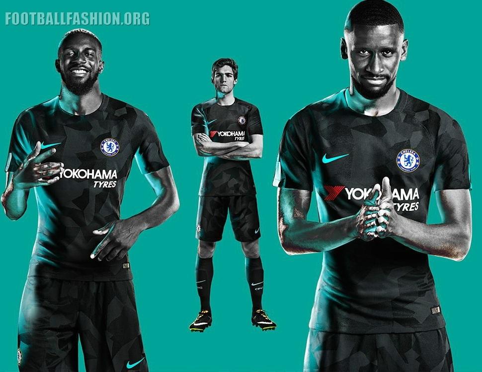 Chelsea FC 2017 2018 Nike Black Third Football Kit, Soccer Jersey, Shirt,  Camiseta