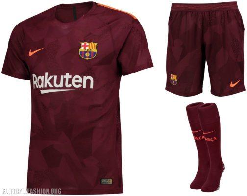 FC Barcelona 2017 2018 Nike Third Football Kit, Soccer Jersey, Shirt, Camiseta, Equipacion, Camisa, Maillot, Trikot, Tenue