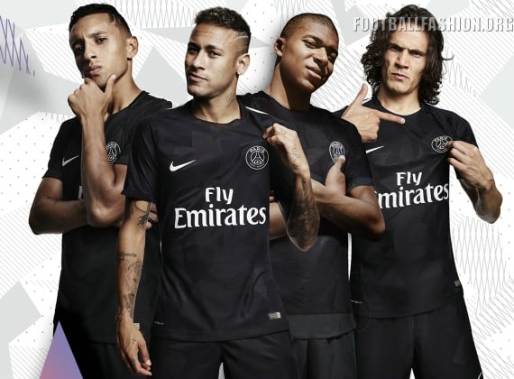 Paris Saint Germain 2017 2018 Nike Black Third Football Kit Soccer Jersey Shirt