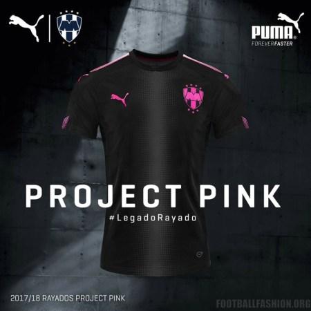 Rayados de Monterrey 2017 2018 PUMA Project Pink Football Kit, Soccer Jersey, Shirt, Camiseta de Futbol Rosada