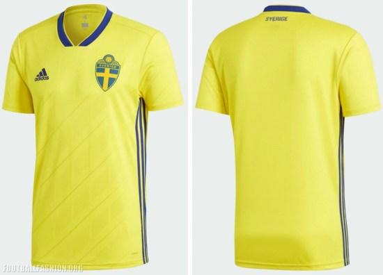 Sweden 2018 2019 World Cup adidas Home Football Kit, Soccer Jersey, Shirt, Sverige SvFF matchtröja
