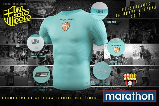 Barcelona SC 2018 Marathon Away Soccer Jersey, Football Kit, Shirt, Camiseta de Futbol