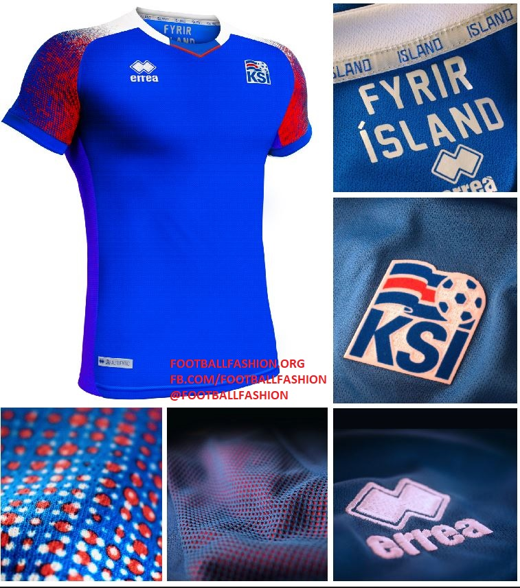 Iceland 2018 World Cup Errea Home and Away Kits – FOOTBALL FASHION.ORG 49ddb55e7