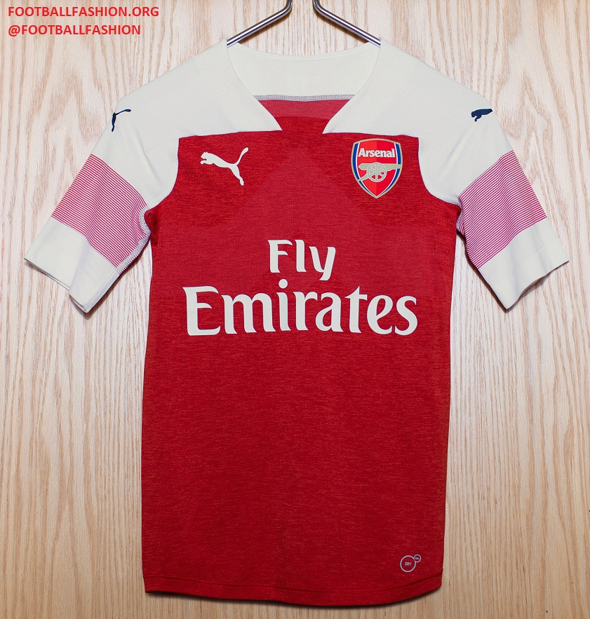 06cc19272a7 The Arsenal 18 19 home jersey uses a bespoke design from PUMA Football that  is currently not used for any of the sportswear firm s other club or  federation ...
