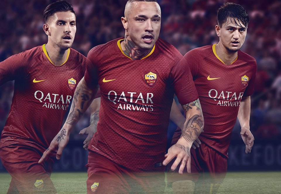 78d4f6694 AS Roma 2018 19 Nike Home Kit – FOOTBALL FASHION.ORG