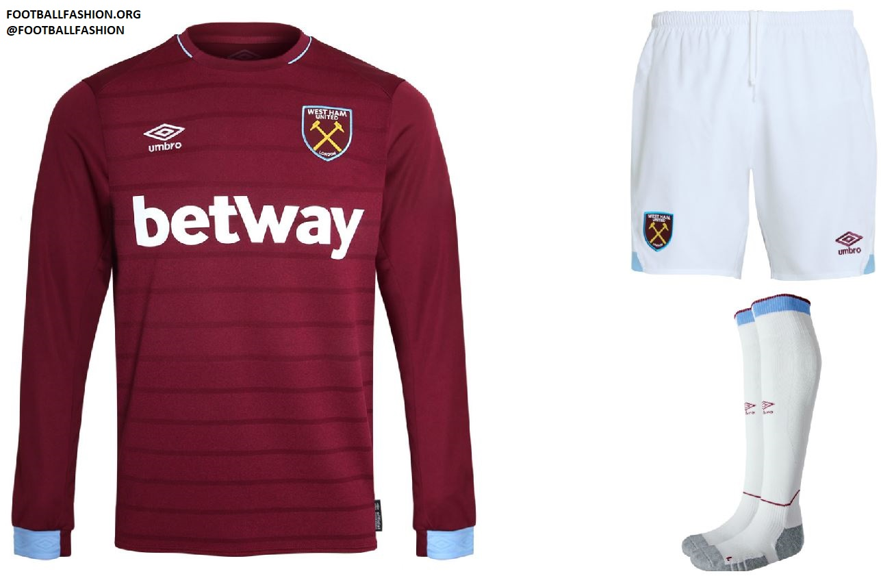 official photos 57dc9 32aa0 West Ham United 2018/19 Umbro Home and Away Kits - FOOTBALL ...