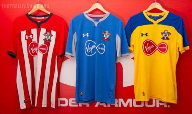 Southampton Football Club 2018 2019 Under Armour Home and Away Football Kit, Soccer Jersey, Shirt