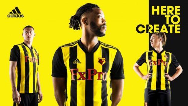 Watford FC 2018 2019 adidas Home Football Kit, Soccer Jersey, Shirt