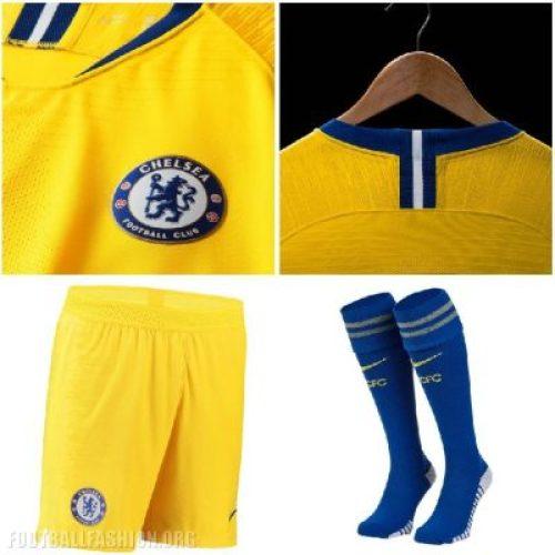 Chelsea FC 2018 2019 Nike Yellow Away Football Kit, Soccer Jersey, Shirt, Camiseta de Futbol, Camisa, Maillot, Trikot, Tenue, Dres