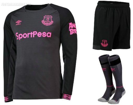 Everton FC 2018 2019 Umbro Black Away Football Kit, Soccer Jersey, Shirt, Camiseta, Camisa, Trikot, Maillot