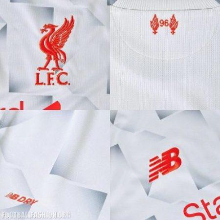 Liverpool FC 2018 2019 White New Balance Third Football Kit, Soccer Jersey, Shirt, Camiseta, Camisa, Maillot, Trikot