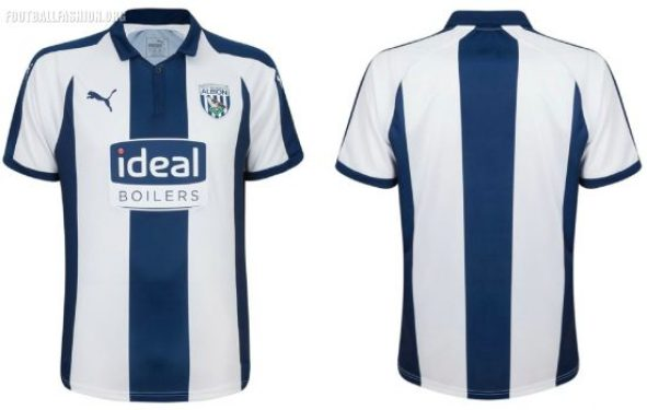 West Bromwich Albion 2018 2019 PUMA Home Football Kit, Soccer Jersey, Shirt