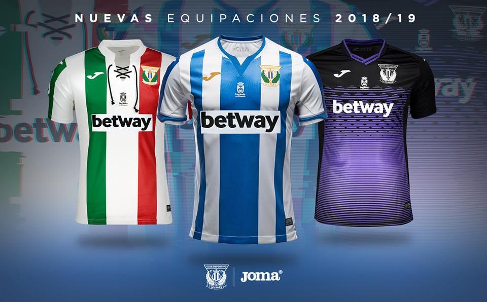 9ec2c2370 CD Leganés 2018/19 Joma Home, Away and Third Kits - FOOTBALL FASHION.ORG